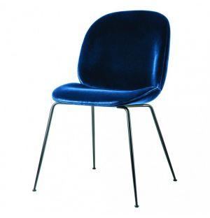 Beetle Dining Chair Velvet With Black Legs