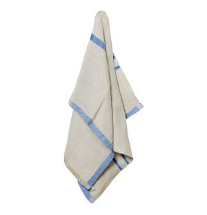 USVA Linen Tea Towel Natural & Blue