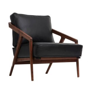 Katakana Lounge Chair Walnut & Black Leather