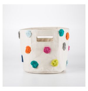 Multicoloured Pom Pom Basket Small