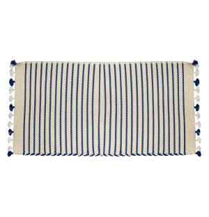 Sadek Bathmat Ivory & Blue
