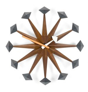 Polygon Clock Walnut