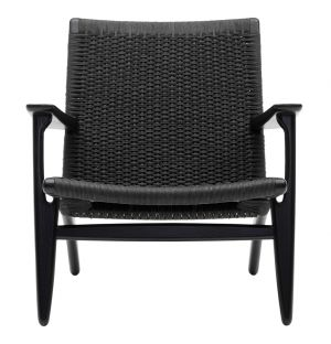 CH25 Low Armchair Black Stained Oak & Black Paper Cord Seat