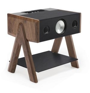 Exclusive Cube Speaker in Walnut and Leather