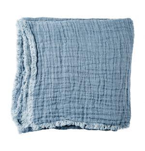 Crumpled Linen Bedspread Denim