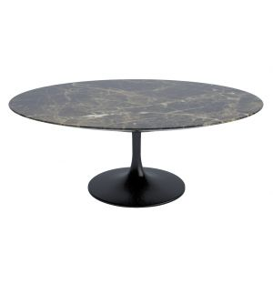 Tulip Oval Coffee Table Emperador Satin Finish Marble & Black Base