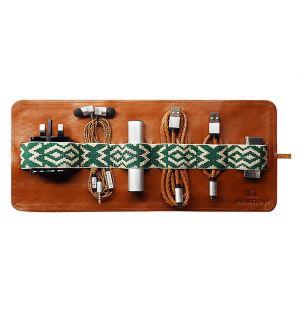 Herringbone Tech Roll Tan Leather