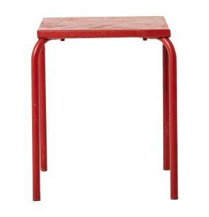 Vintage Square Tubular Base Table Red Iron