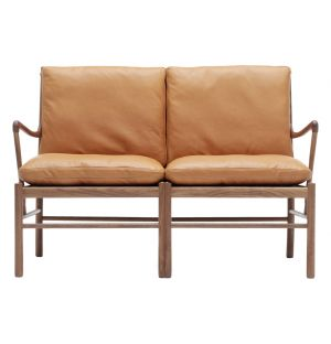 OW149-2 Colonial Sofa Walnut & Tan Leather
