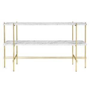 TS Console Double Rack Brass Base Marble Top
