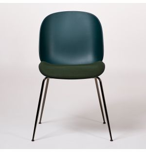 Beetle Dining Chair Upholstered Seat Green & Black