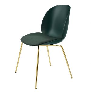 Beetle Dining Chair Upholstered Seat & Brass Legs