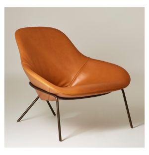 Cross Leg Lounge Chair Legacy Tan Leather