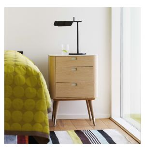 AK 2410 3-Drawer Bedside Table Corian & Oak