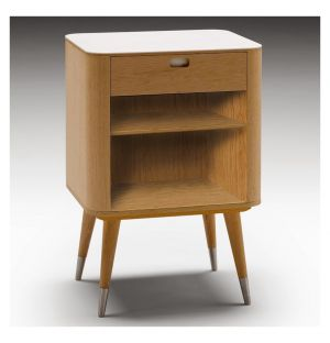 AK 2405 1-Drawer Bedside Table Corian & Oak