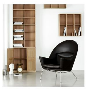 CH468 Oculus Chair Black Leather & Metal Legs