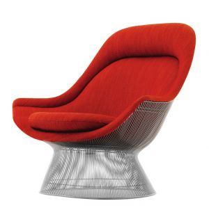 Platner Easy Chair Polished Nickel & Rivington Fabric