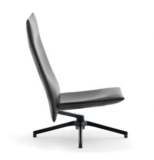 Pilot Chair Soft High Back Charcoal & Leather