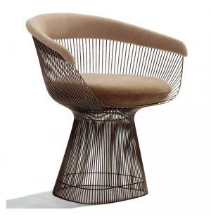 Platner Side Chair Metallic Bronze & Alpaca Fabric
