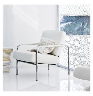 Susanna Armchair Chrome Frame & White Leather