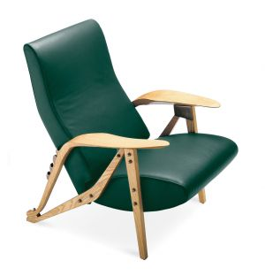 Gilda Armchair Oak Dyed Ash & Green Leather