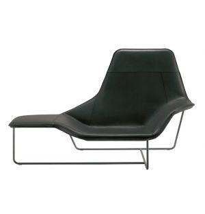 Lama Lounger Graphite Painted Steel Black Leather