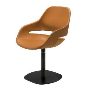 Eva Swivel Chair Black Painted Steel & Pelle Naturale Leather