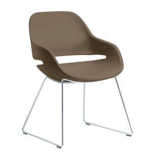 Eva Slide Side Chair Chrome & Leather