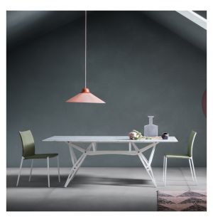 Reale Dining Table White Painted Oak & Carrara Marble