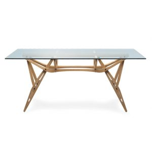 Reale Dining Table Oak & Glass Top