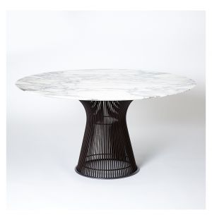 Platner High Table Metallic Bronze & Arabescato Marble
