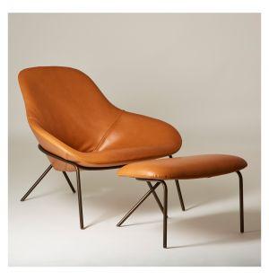 Cross Leg Lounge Chair & Ottoman Legacy Leather