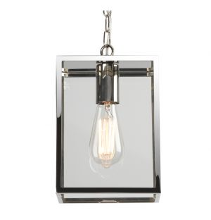 Homefield 240 7908 Exterior Pendant Light Polished Nickel & Clear Glass