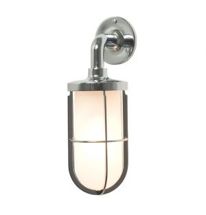 Weatherproof Ship's Wall Light Chrome & Frosted Glass