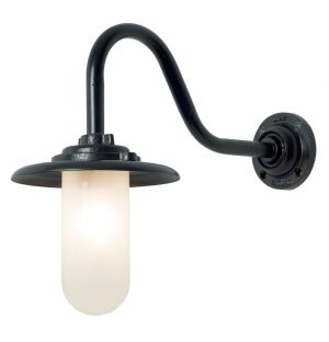 Exterior Bracket Wall Light Swan Neck Black & Frosted Glass 60W