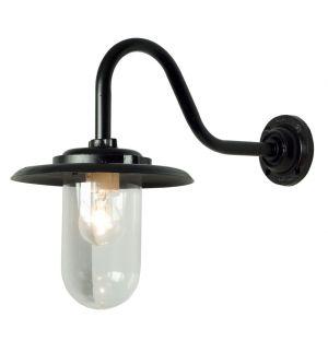 Exterior Bracket Wall Light Swan Neck Black & Clear Glass 100W