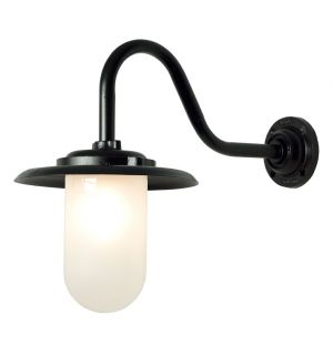 Exterior Bracket Wall Light Swan Neck Black & Frosted Glass 100W