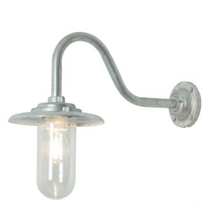 Exterior Bracket Wall Light Swan Neck Clear Glass 60W
