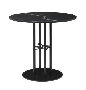 TS Column Table Marble Top & Black Base Small
