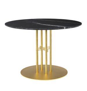 TS Column Table Marble Top & Brass Base Medium