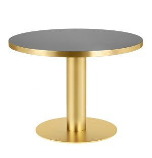 Gubi 2.0 Dining Table Brass & Glass Small