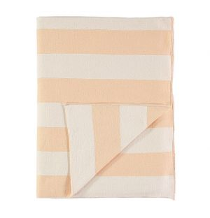 Knitted Blanket Peach & Ivory