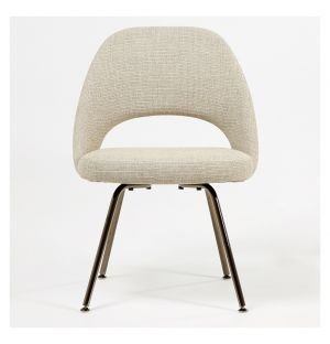 Exclusive Saarinen Conference Chair Black Chrome & Grey West Fabric