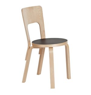 66 Chair Natural Lacquered Birch & Black