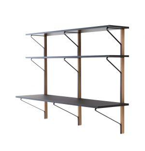 REB 010 Kaari Wall Shelving Unit & Desk Natural Oak & Black
