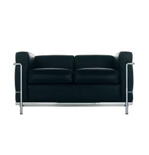 LC2 2-Seater Sofa Graphite Leather & Chrome