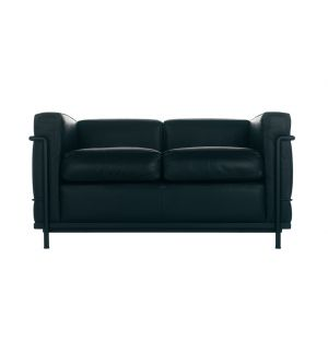 LC2 2-Seater Sofa Graphite Leather & Black Steel
