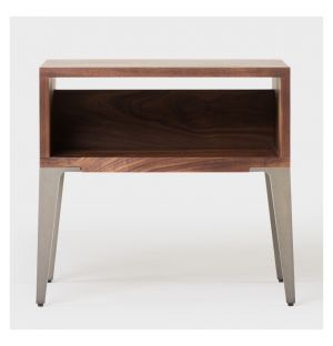 Bretton Bedside Table Walnut & Taupe