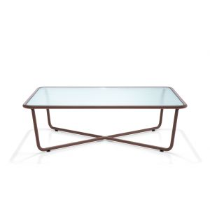 SUNGLASS 002 Coffee Table Rust & Ribbed Glass