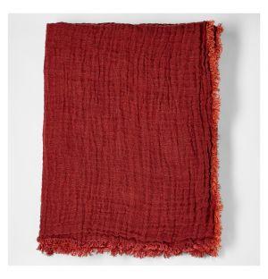 Crumpled Linen Bedspread Brick